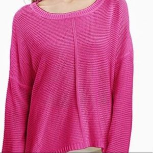 Free People hot pink Oversized knit Sweater small